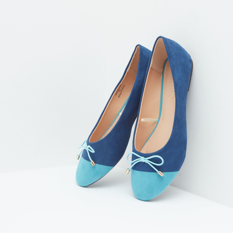 Colourblock Ballerina Shoes with Bow Detail