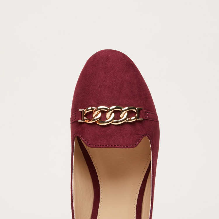 Metallic Chain Detail Ballerina Shoes