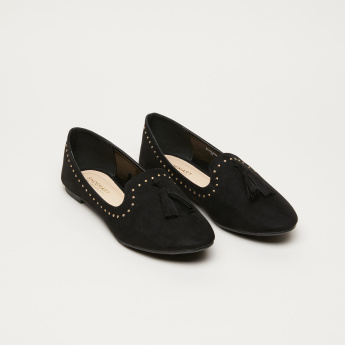 Stud Detail Ballerina Shoes with Tassels