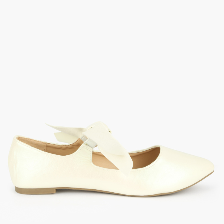 Missy Pointed Toe Ballerinas with Bow Detail