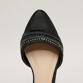Embellished Sandals with Pin Buckle Closure