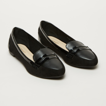Stitch Detail Slip-On Ballerina Shoes with Vamp Band