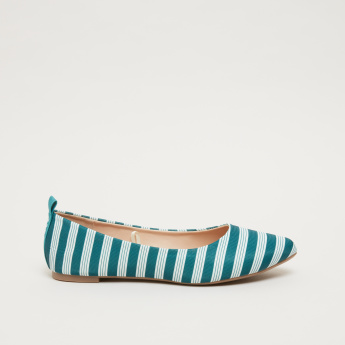 Striped Ballerinas with Tape Detail