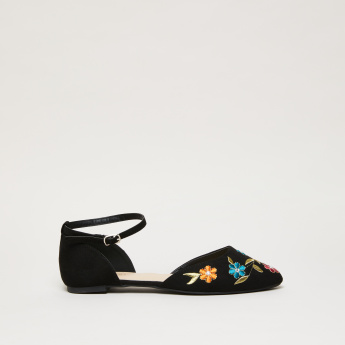 Embroidered Ankle Strap Shoes
