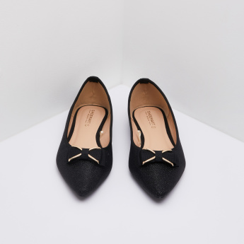 fashion best quality big discount Textured Pointed Toe Ballerina Flats | Black | Pointed Toe Ballerinas
