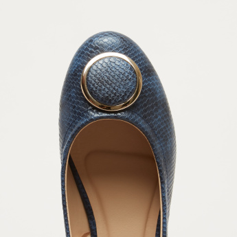 Textured Ballerina Shoes with Medallion Detail