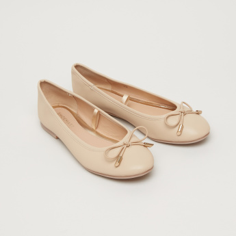 Slip-On Bow Applique Ballerina Shoes