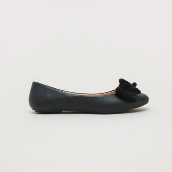 Slip-On Ballerina Shoes with Bow Detail