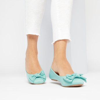 Slip-On Ballerinas with Bow Accent