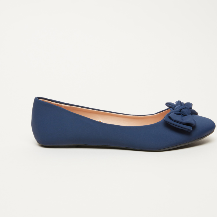 Missy Slip-On Ballerina Shoes with Bow Detail