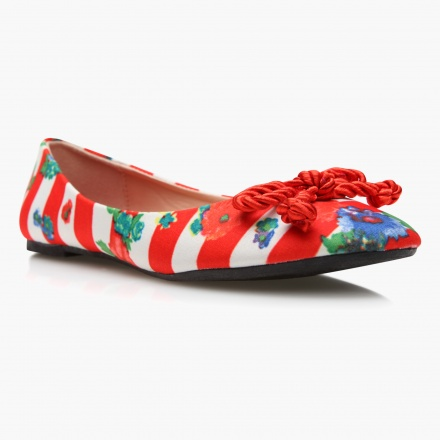 Missy Printed Ballerinas with Bow Accents