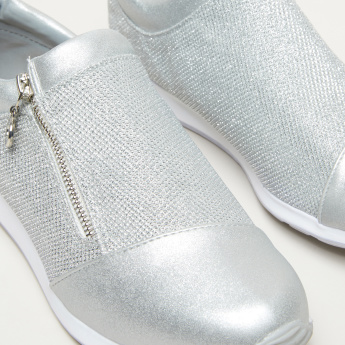 Celeste Glitter Detail Sneakers with Zip Closure