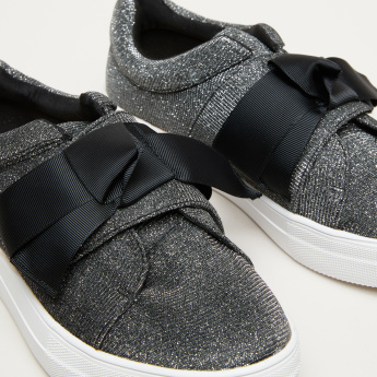 Celeste Glitter Sneakers with Bow Detail