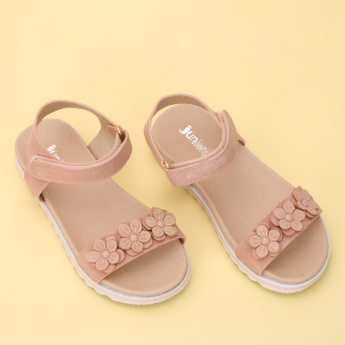 Juniors Floral Applique Detail Sandals with Hook and Loop Closure
