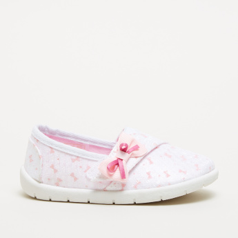 Printed Slip-On Shoes with Bow Detail