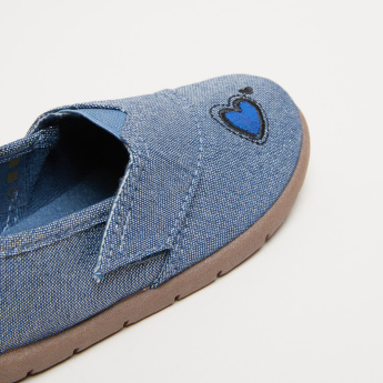 Embroidered Stitch Detail Slip-On Shoes with Elasticised Gussets