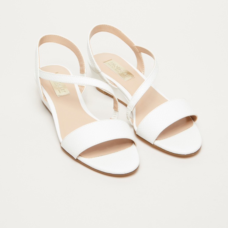 Textured Low Heel Sling Back Sandals