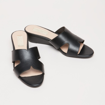 Wedge Heel Slides with Cutout Detail