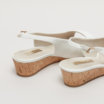 Paprika Sling Back Wedges with Buckle Closure