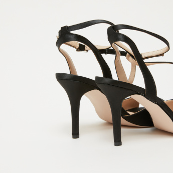 Stitch Detail Stilettos with Ankle Strap and Pin Buckle Closure