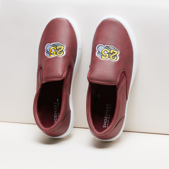 Embroidered Slip-On Shoes with Elasticised Gussets