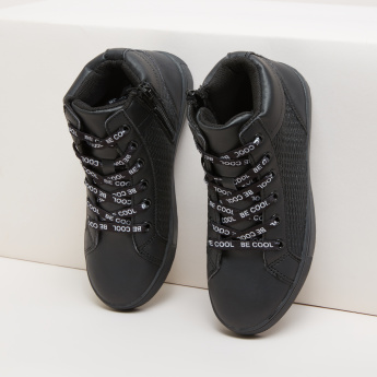 Textured High-Top Lace-Up Shoes