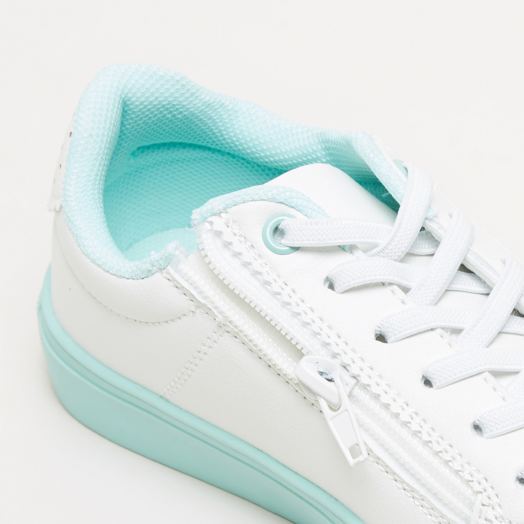 Stitch Detail Sneakers with Zip Closure