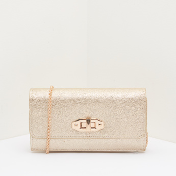 Celeste Textured Metallic Clutch