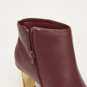Boots with Block Heels and Zip Closure