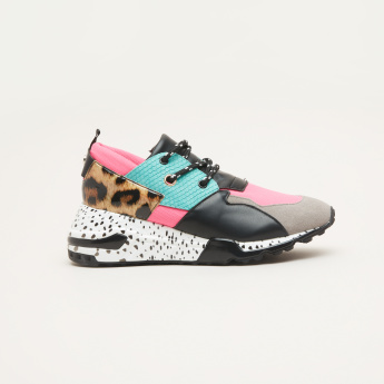 Steve Madden Women's Lace Up Sneakers with Printed Sole