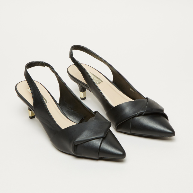 Kitten Heel Slingback Shoes with Knot Detail