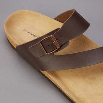 Le Confort Slides with Toe Strap and Buckle Detail