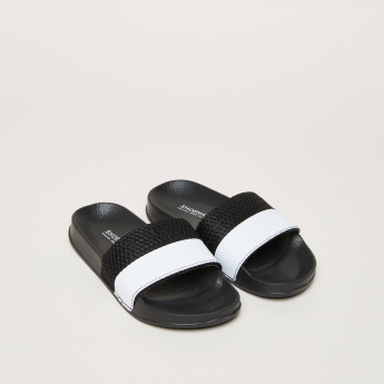 Slides with Striped and Textured Straps