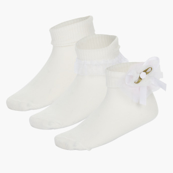 Juniors Frill Socks with Bow Applique - Set of 3