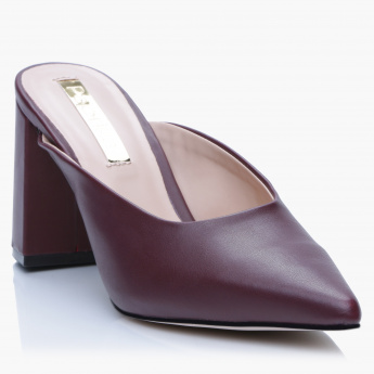 Paprika Block Heel Slip-On Shoes