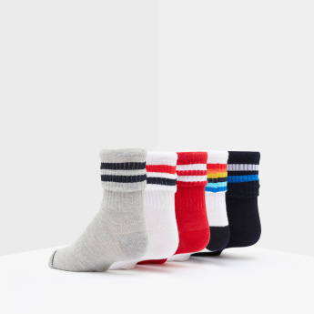 Textured Socks with Striped Cuffs - Set of 5