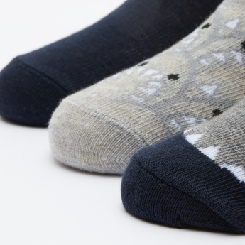 Printed Quarter Length Socks - Set of 3