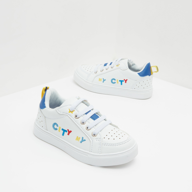 Perforated Sneakers with Embroidery