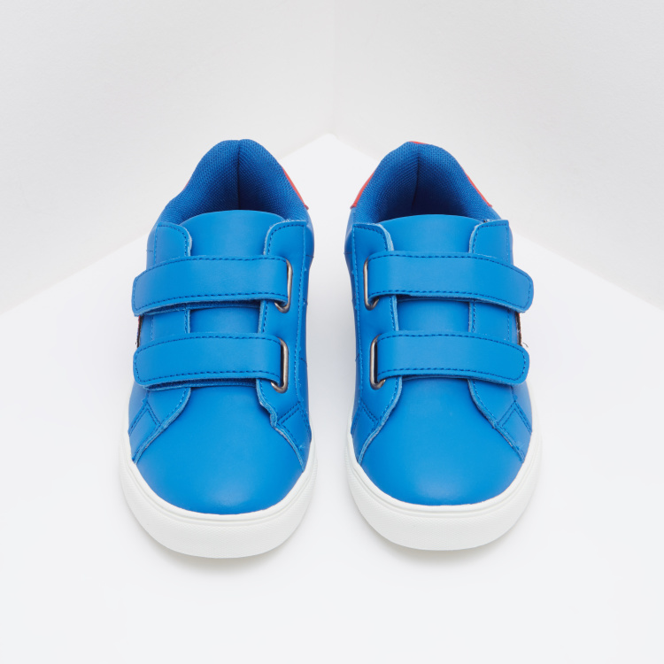 Low Ankle Sneakers with Applique Detail and Hook and Loop Closure