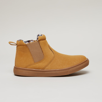 Stitch Detail High Top Chelsea Boots with Zip Closure