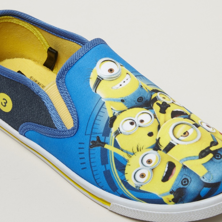 Minions Printed Slip-On Shoes with Elasticised Gussets