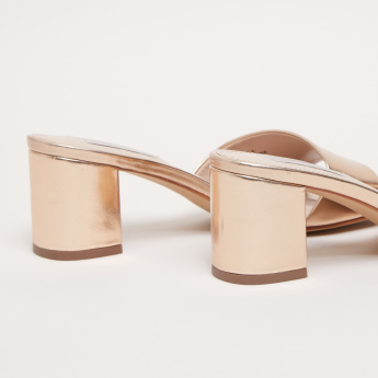 Block Heel Slides with Peep Toes