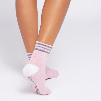 KangaROOS Ankle Length Socks with Stripe and Print Detail - Set of 3