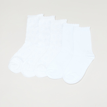 Juniors Textured Quarter Length Socks - Set of 5