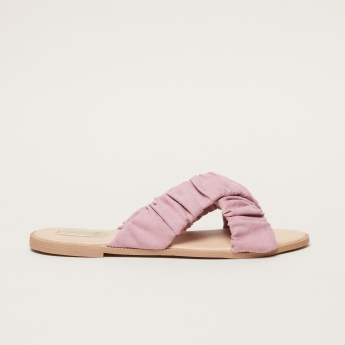 Ruched Cross Strap Slides