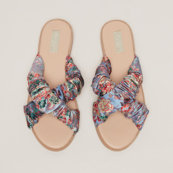 Ruched Embroidered Cross Strap Slides
