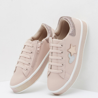 Embellished Sneakers with Zip Closure