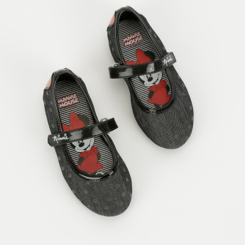 Minnie Mouse Printed Mary Jane Shoes with Hook and Loop Closure