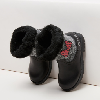 Minnie Mouse Applique Detail High Top Boots