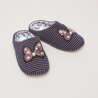 Minnie Mouse Printed Slides with Sequin Detail